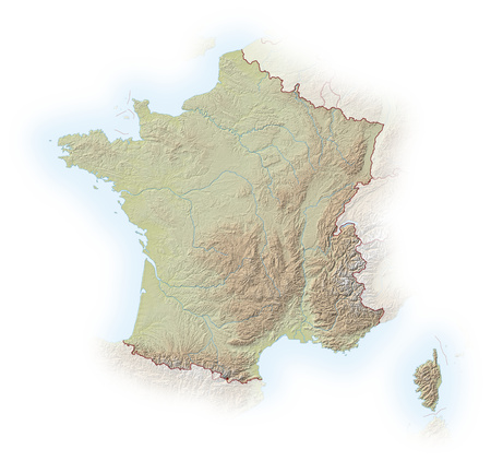 implied: Relief map of France, the nearby countries are implied. Stock Photo