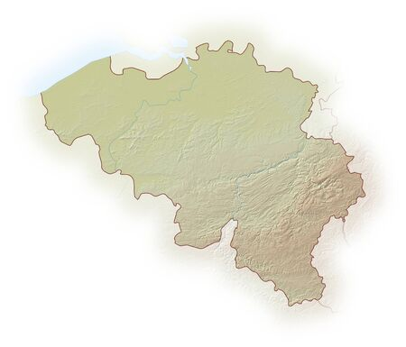 implied: Relief map of Belgium, the nearby countries are implied.