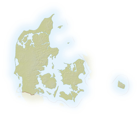 implied: Relief map of Denmark, the nearby countries are implied. Stock Photo