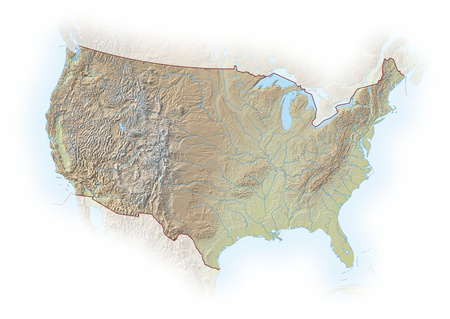 implied: Relief map of United States, the nearby countries are implied. Stock Photo