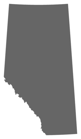 Map of Alberta, a province of Canada.