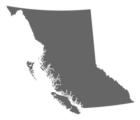 브리티시 컬럼비아, 캐나다의 지방의지도. 일러스트