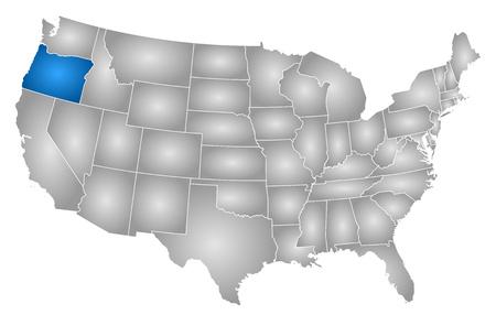 방사형 그라데이션으로 채워진 각 지방의 미국지도, 오레곤이 강조 표시됩니다. 일러스트