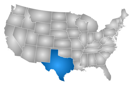 tx: Map of United States with the provinces, filled with a radial gradient, Texas is highlighted. Illustration