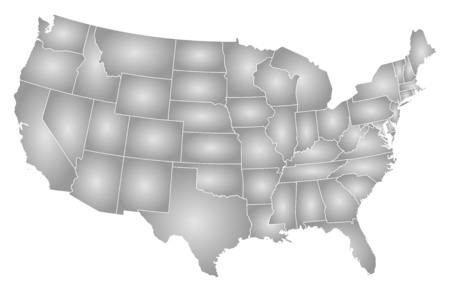 Map of United States with the provinces, filled with a radial gradient. 矢量图像