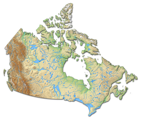 shaded: Relief map of Canada with shaded relief.