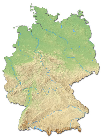 federal republic of germany: Relief map of Germany with shaded relief.