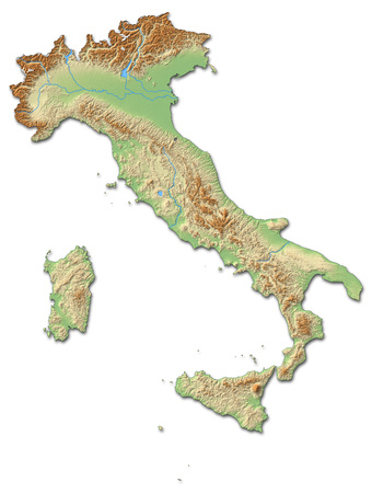 Relief map of Italy with shaded relief.