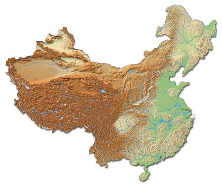 Relief map of China with shaded relief.