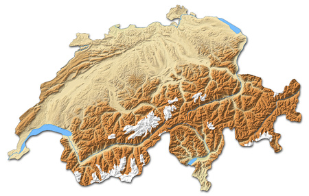 swizerland: Relief map of Swizerland with shaded relief. Stock Photo
