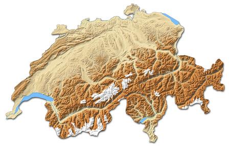 schweiz: Relief map of Swizerland with shaded relief. Stock Photo