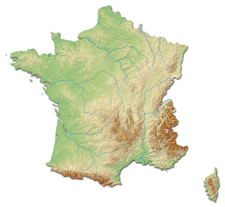 Relief map of France with shaded relief.