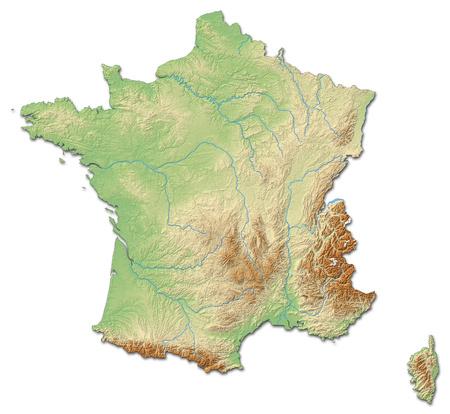 음영 처리 된 구호와 함께 프랑스의 구호지도.
