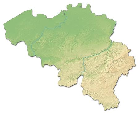 Relief kaart van België met gearceerde opluchting.