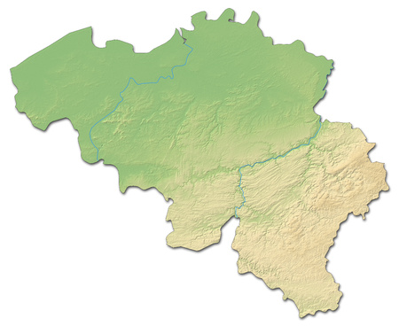 Relief map of Belgium with shaded relief.