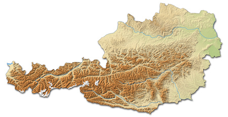 Relief map of Austria with shaded relief.
