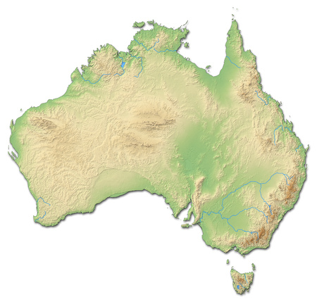 australie: Relief map of Australia with shaded relief.