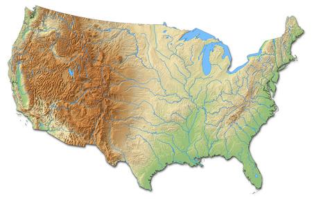 Relief kaart van de Verenigde Staten met gearceerde opluchting.