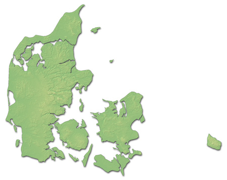 shaded: Relief map of Danmark with shaded relief.