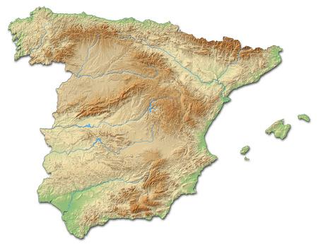 mappa sollievo della Spagna con rilievi ombreggiati.