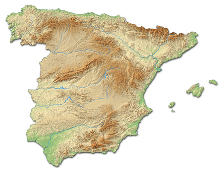 Relief map of Spain with shaded relief.
