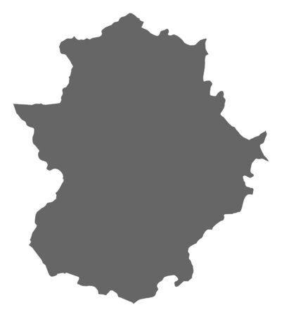extremadura: Map of Extremadura, a province of Spain.