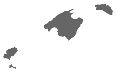 Carte des Îles Baléares, une province de l'Espagne. Vecteurs