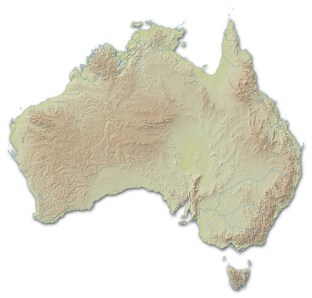 implied: Relief map of Australia, the nearby countries are implied.