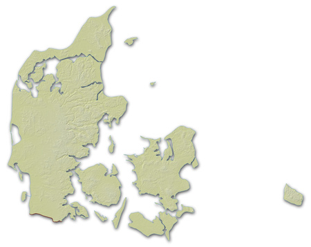 implied: Relief map of Danmark, the nearby countries are implied.