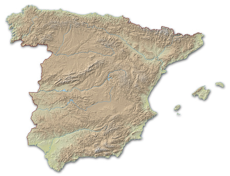 implied: Relief map of Spain, the nearby countries are implied.