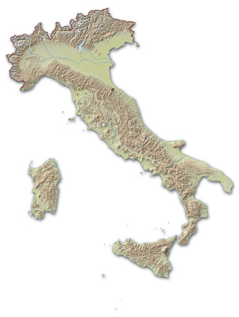 implied: Relief map of Italy, the nearby countries are implied. Stock Photo