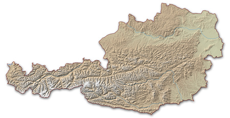 implied: Relief map of Austria, the nearby countries are implied.