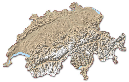 implied: Relief map of Swizerland, the nearby countries are implied.