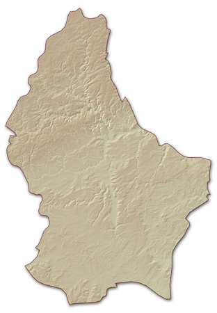 implied: Relief map of Luxembourg, the nearby countries are implied.