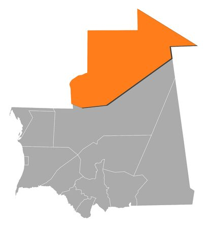 mauritania: Map of Mauritania with the provinces, Tiris Zemmour is highlighted by orange. Illustration