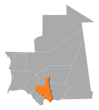 Map of Mauritania with the provinces, Assaba is highlighted by orange.