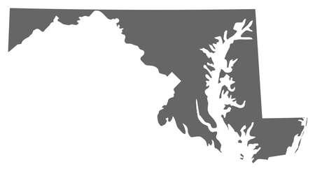 land mark: Map of Maryland, a province of United States. Illustration