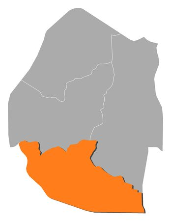 Map of Swaziland with the provinces, Shiselweni is highlighted by orange.