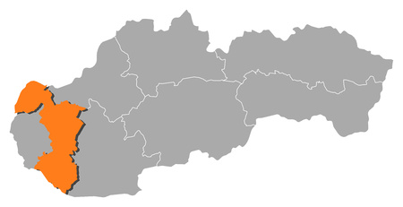 Map of Slovakia with the provinces, Trnava is highlighted by orange. Illustration