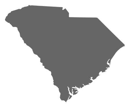 Map of South Carolina, a province of United States.