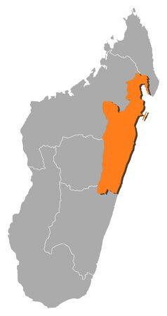 Map of Madagascar with the provinces, Toamasina is highlighted by orange. Illustration