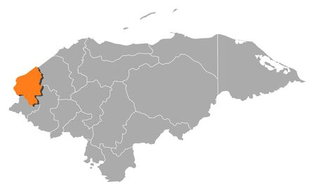 Map of Honduras with the provinces, Cop?n is highlighted by orange.