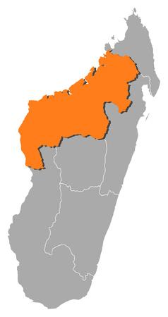 republique: Map of Madagascar with the provinces, Mahajanga is highlighted by orange. Illustration