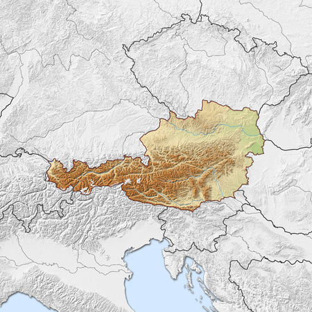 shady: Relief map of Austria with shaded relief, the nearby countries are in black and white.