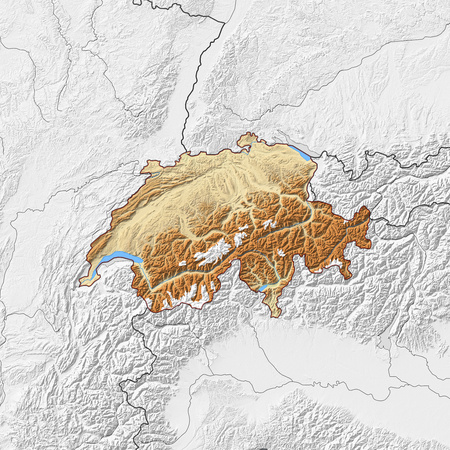 schweiz: Relief map of Swizerland with shaded relief, the nearby countries are in black and white.