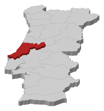 Map of Portugal as a gray piece., Leiria is highlighted in red. Illustration