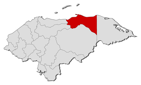 Map of Honduras with the provinces, Col?n is highlighted.