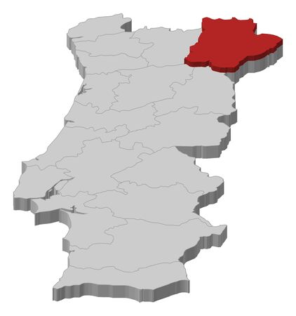 Map of Portugal as a gray piece., Braganca is highlighted in red. Illustration