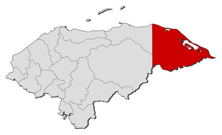 Map of Honduras with the provinces, Gracias a Dios is highlighted. Illustration