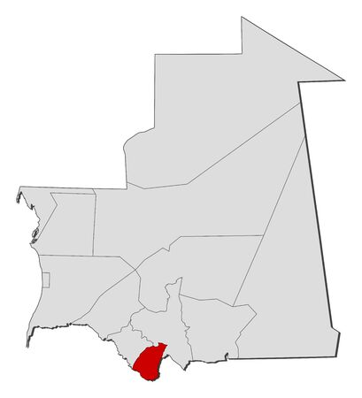 Map of Mauritania with the provinces, Guidimaka is highlighted.